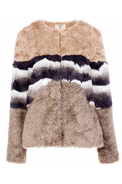 Get the look teddy bear : cropped teddy bear coat beige black white stripe across middle section
