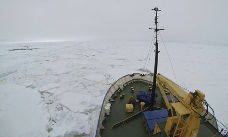 Akademik Shokalskiy surrounded by ice