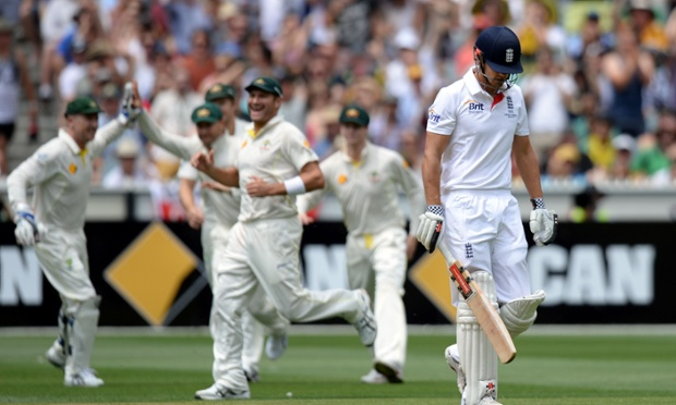 Alastair Cook is dismissed