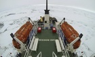 Ship prow trapped ice