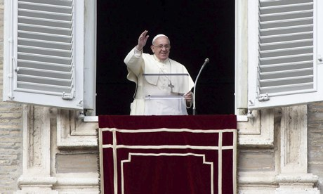 Pope Francis during the traditional sunday Angelus prayer