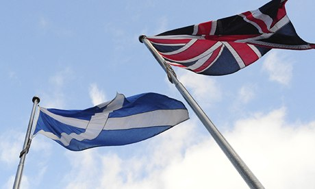 Scottish saltire and the union flag