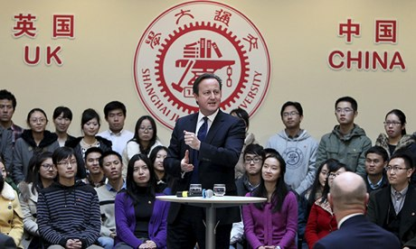 David Cameron delivers a speech at the Shanghai Jiao Tong University on the second day of his China