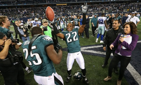 The Philadelphia Eagles celebrate making he playoffs at the expense of the Dallas Cowboys.