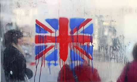 A painted British union flag is seen as
