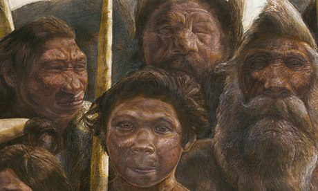 An artist's impression of the Sima de los Huesos early humans
