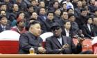 North Korean leader Kim Jong-Un and former NBA star Dennis Rodman at a basketball game in Pyongyang