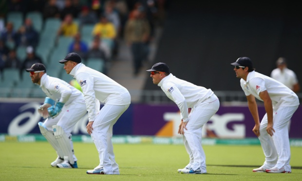 The England slips get ready to rumble on during day one of the second Ashes Test Match between Australia and England.