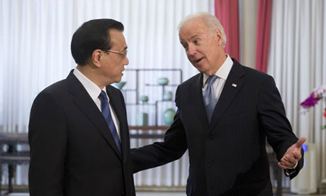 Joe Biden, the US vice-president, with Premier Li Keqiang of China during talks in Beijing