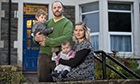 Grant and Emma Forrester at home in Bristol with their children, Fred, two and Arnold, four months