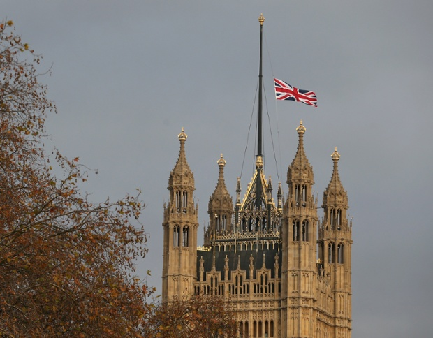 The Union flag flies at half mast on Victoria Tower, House of Parliament following the death of Nelson Mandela.
