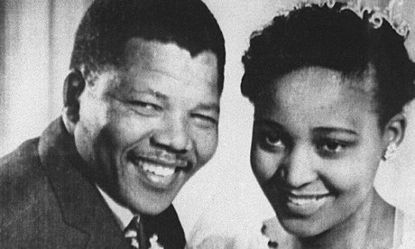 Nelson and Winnie Mandela pose for their wedding photo in 1957