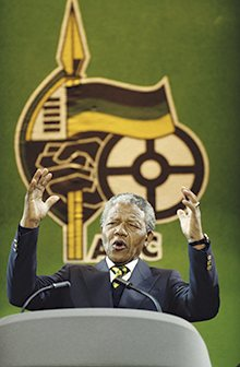 Nelson Mandela at a concert at Wembley Stadium in 1990 to celebrate his release from prison