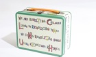 The Matilda the Musical lunchbox with Tim Minchin's lyrics