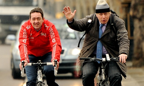 Boris Johnson with the Olympic cycling champion Chris Boardman.