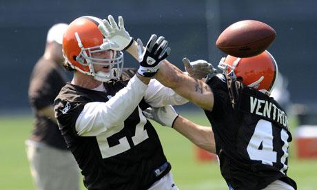 Cleveland Browns NFL safety Nick Sorensen in 2010 practice