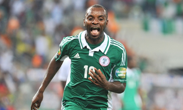 Nigeria's forward Sunday Mba celebrates after scoring the opening goal against Burkina Faso.