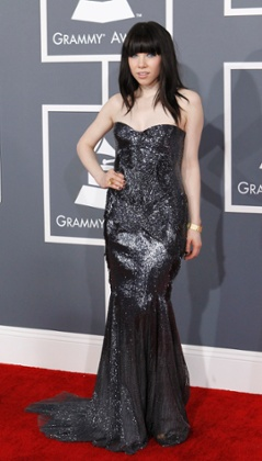 Pop singer Carly Rae Jepsen on the red carpet at the 2013 Grammys.
