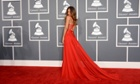 Rihanna arrives on the red carpet for the 2013 Grammys at the Staples Center in Los Angeles.