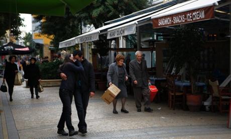 A pedestrian shopping street in central capital Nicosia, Cyprus.