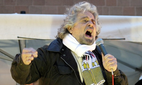 Beppe Grillo, leader of the Five Star Movement, during a rally last month.