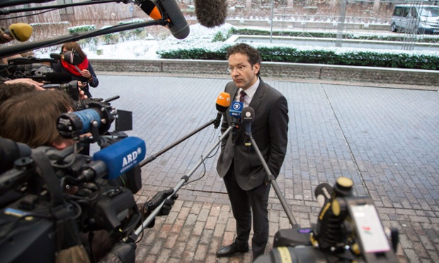 Dutch finance minister Jeroen Dijsselbloem, at the EU headquarters in Brussels, before his first meeting as president of the Eurogroup finance chiefs.