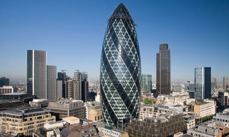 Getting To Know The London Skyline - London-gherkin-an-unusual-eggshaped-building