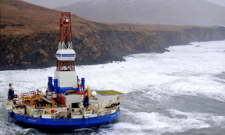 Shell's Kulluk drillship, which ran aground near Kodiak Island in December