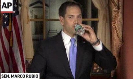 Marco Rubio drinking water