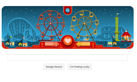 Screenshot from the Valentine's Day/George Ferris Google Doodle.