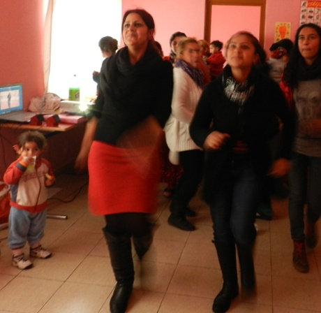People dance to mark One Billion Rising in Fushe Kruja, Albania, on 14 February 2013.