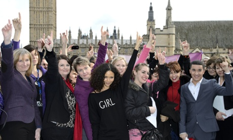 Campaigners including actress Thandie Newton, singer Jahmene Douglas and MPs Stella Creasy and Yvette Cooper at a One Billion Rising event at parliament on 14 February 2013.