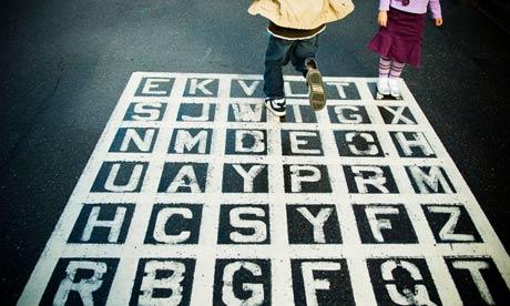 Kids play alphabet game
