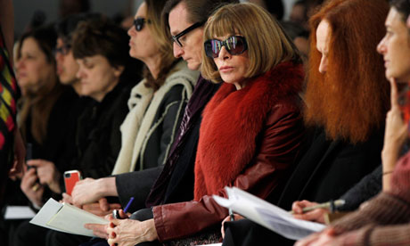Vogue editor Anna Wintour watches fashion show