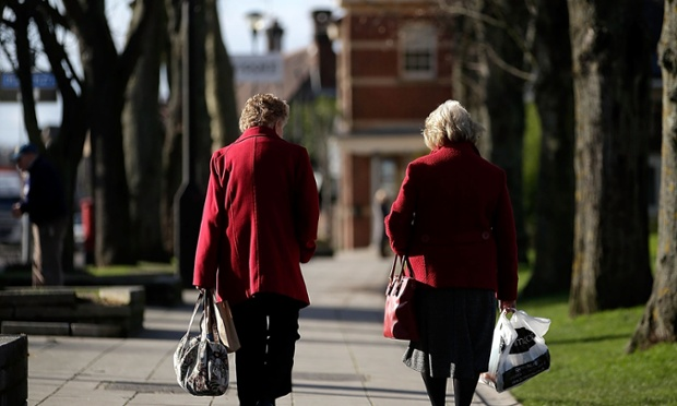 Elderly ladies walk in the sunny town centre on February 14, 2013 in Eastleigh, Hampshire.
