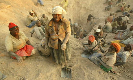 Zimbabwean women mining for diamonds in the Marange region in 2006.