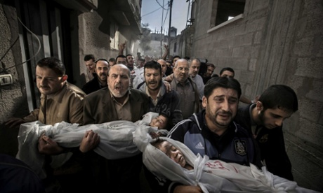Paul Hansen&#39;s photograph from Gaza City has won the World Press Photo of the Year 2012. Two-year-old Suhaib Hijazi and her three-year-old brother Muhammad were killed when their house was destroyed by an Israeli missile strike. For more of the winners see our gallery.
