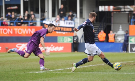 Millwall's James Henry opens the scoring against Luton Town in the FA Cup.