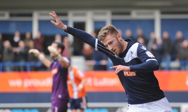 James Henry celebrates after scoring the first goal for Millwall against Luton