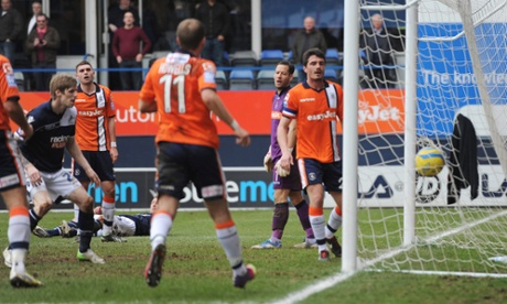 Rob Hulse scores Millwall's second goal against Luton.