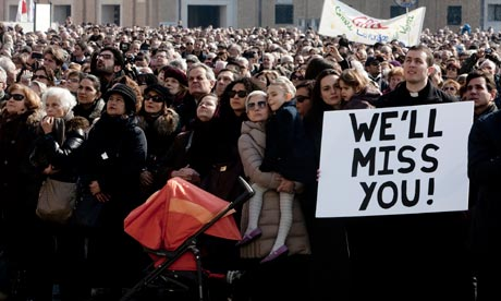 A sign in the crowd at the Vatican