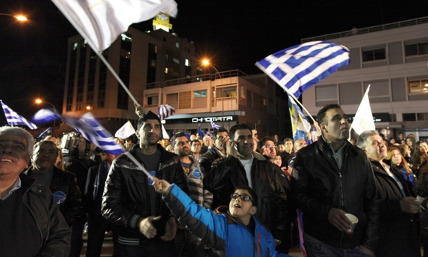Supporters of Greek Cypriot presidential candidate Nicos Anastasiades celebrating in Nicosia, Cyprus, 17 February 2013.