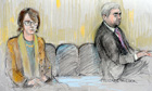 Court artist's drawing of Vicky Pryce and Chris Huhne appearing at Westminster magistrates court