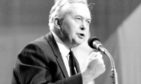 Harold Wilson at microphone