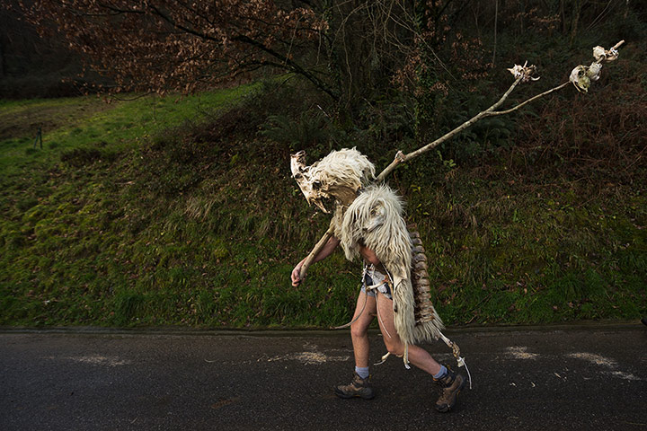 20 Photos: A man dressed as a 'Momotxorro' in the Basque village of Zubieta