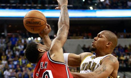David West passes against the Miami Heat