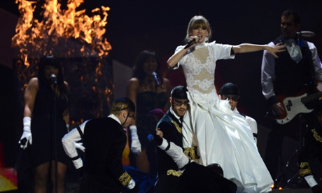 Taylor Swift performs during the Brit awards 2013