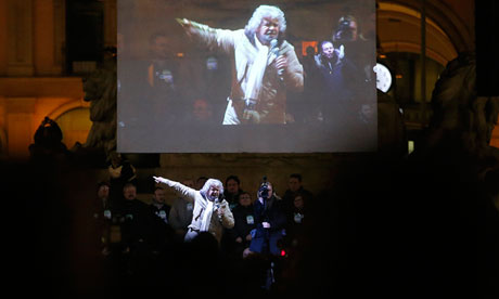 Comedian Beppe Grillo at a rally in Milan