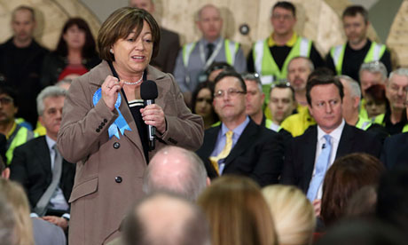 Maria Hutchings speaks at a Cameron Direct event at a cable manufacturer in Eastleigh
