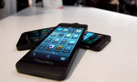 The BlackBerry Z10 went on sale earlier this year. Photograph: Frank